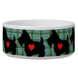 Scottie Heart Tartan Dog Bowl
