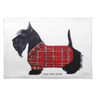 Scottie Holiday Jacket Cloth Placemat