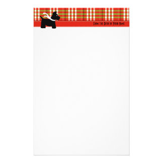 Scottie Holiday Plaid Writing Paper Personalized Stationery