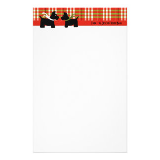 Scottie Holiday Plaid Writing Paper Stationery Paper