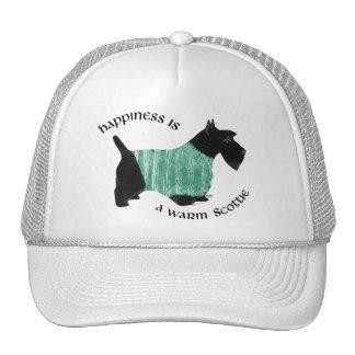 Scottie in a Green Striped Sweater Trucker Hat