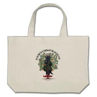 Scottie in a Pear Tree Canvas Bags