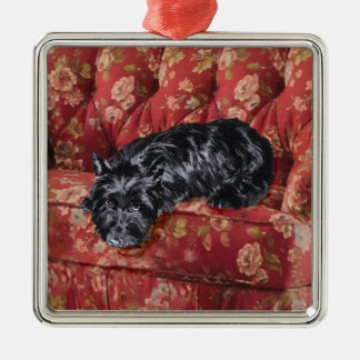 Scottie in Big Red Chair Christmas Tree Ornaments