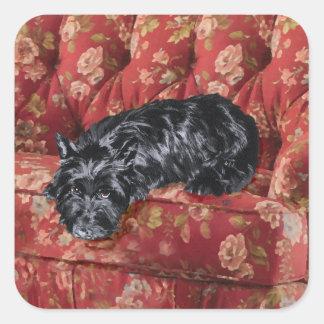 Scottie in Big Red Chair Stickers