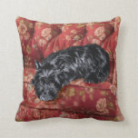 Scottie in Big Red Chair Throw Pillows