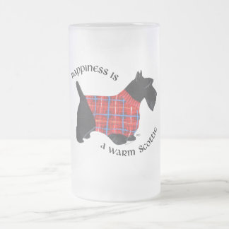 Scottie in Red & Blue Plaid Sweater Frosted Glass Beer Mug