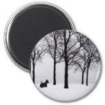 Scottie in Snowy Woods 2 Inch Round Magnet