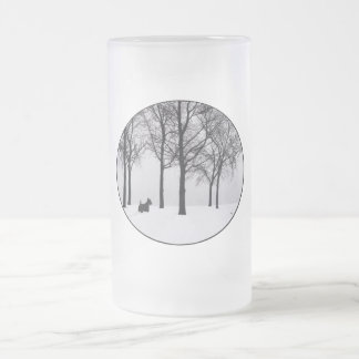 Scottie in Snowy Woods Frosted Glass Beer Mug