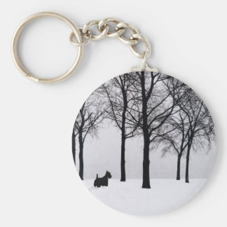 Scottie in Snowy Woods Keychain