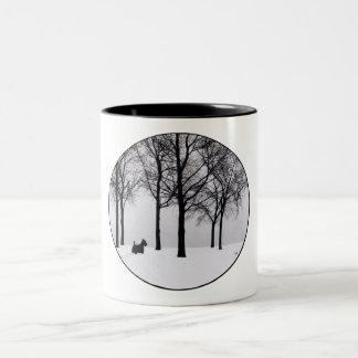 Scottie in Snowy Woods Two-Tone Coffee Mug