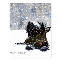 Scottie in the Snow Postcard