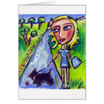 Scottie lady in blue greeting cards