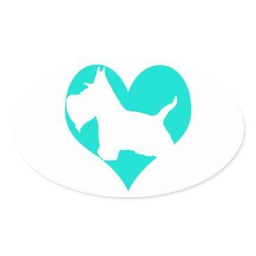 McTiffany Tiffany Aqua Scottie Love Oval Sticker