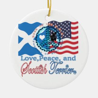 Scottie Love, Peace, and Scottish Terrier Ceramic Ornament