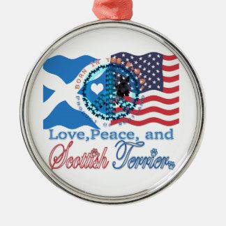 Scottie Love, Peace, and Scottish Terrier Metal Ornament