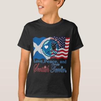 Scottie Love, Peace, and Scottish Terrier T-Shirt