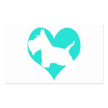 McTiffany Tiffany Aqua Scottie Love Rectangular Sticker