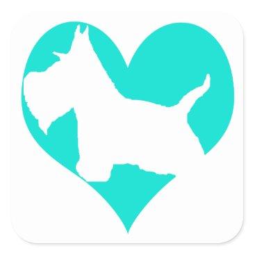 McTiffany Tiffany Aqua Scottie Love Square Sticker