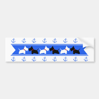 Scottie No 8 and Westies Blue Anchors Bumper Sticker