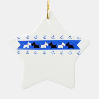 Scottie No 8 and Westies Blue Anchors Ceramic Ornament