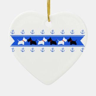 Scottie No 8 and Westies Blue Anchors Ceramic Ornament