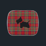 """Scottie No 8 Jelly Belly Candy Tin<br><div class=""""desc"""">Scottie No 8 Dark Red Tartan Candy Tin.  A Scottish Terrier with a red collar.  This design was inspired by my Scottie,  Lincoln at his eight months.</div>"""