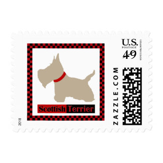 Scottie No 8 Wheaten Checkers Postage Stamps