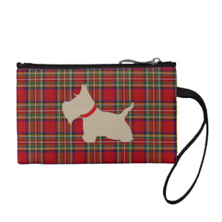 Scottie No 8 Wheaten Dark Red Tan Tartan Coin Purse