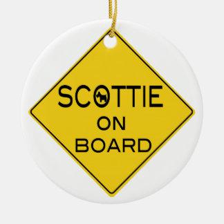 Scottie On Board Ceramic Ornament