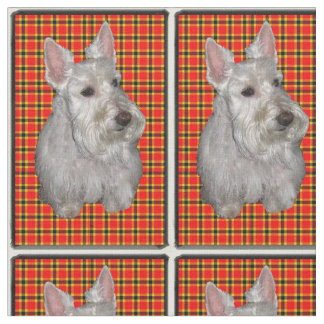 Scottie on Plaid Fabric
