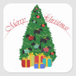 Scottie Ornaments Christmas Tree Square Sticker