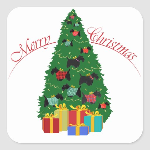 Scottie Ornaments Christmas Tree Stickers