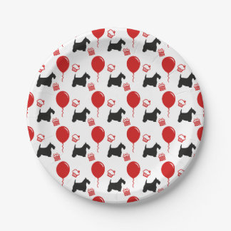 Scottie Party 2 Black and Red Paper Plate