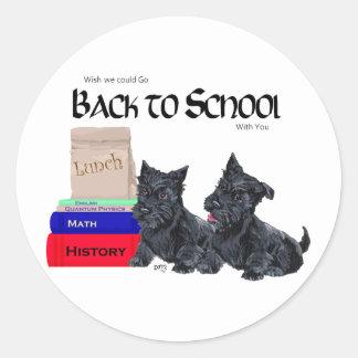 Scottie Puppies Back to School Classic Round Sticker