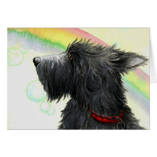 Scottie rainbow and bubbles greeting card cards
