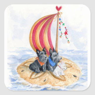 Scottie Sailing Trio Square Sticker
