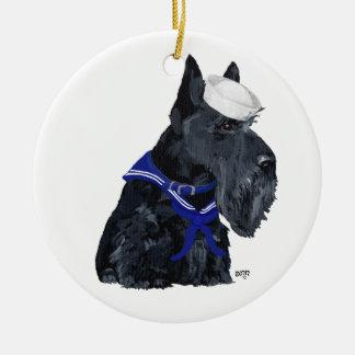 Scottie Sailor Ceramic Ornament