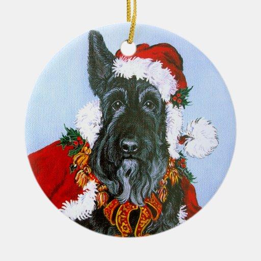 Scottie Santa Claus Ceramic Ornament