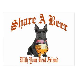 Scottie Shares A Beer Postcard