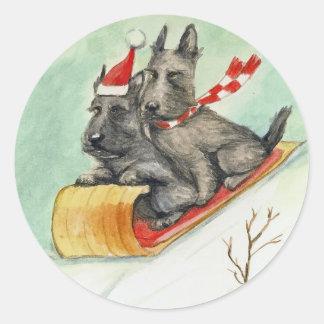 """""""Scottie Sleigh Ride"""" Dog Art Stickers"""