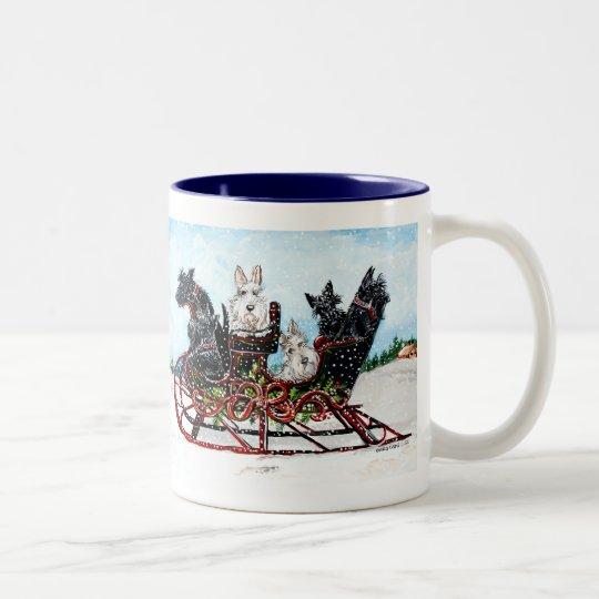 Scottie Sleigh Ride Two-Tone Coffee Mug