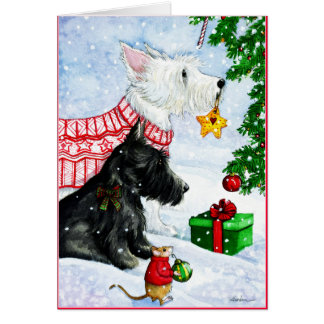 Scottie, Westie and Mr Mouse Greeting Card