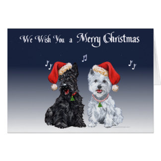 Scottie & Westie Christmas Carols Card
