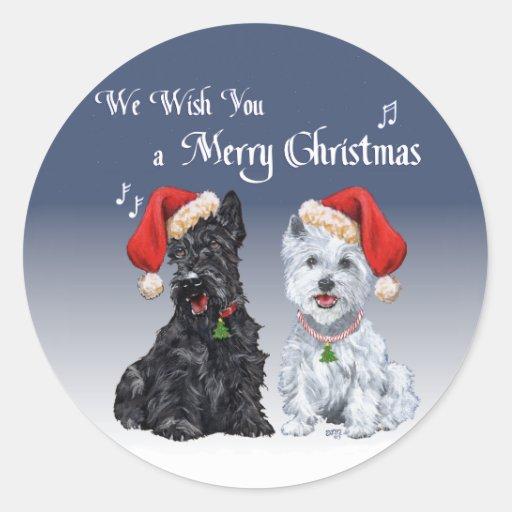 Scottie & Westie Christmas Carols Classic Round Sticker