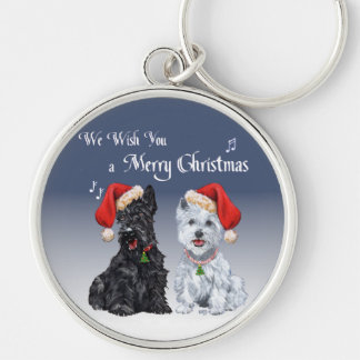 Scottie & Westie Christmas Carols Silver-Colored Round Keychain