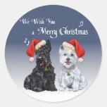 Scottie & Westie Christmas Carols Sticker