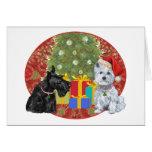 Scottie & Westie Christmas Greeting Card