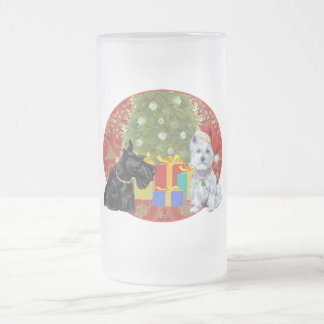 Scottie & Westie Christmas 16 Oz Frosted Glass Beer Mug