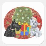 Scottie & Westie Christmas Square Sticker