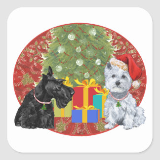 Scottie & Westie Christmas Square Sticker